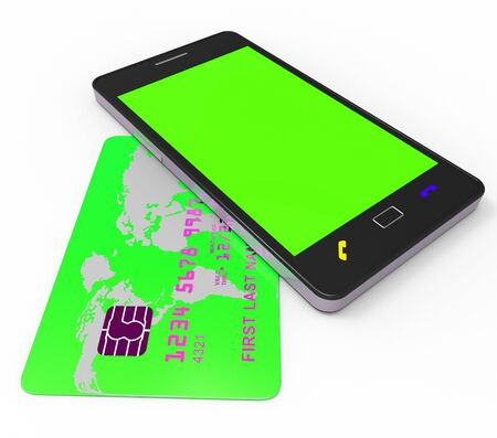 merchandiser: Credit Card Online Representing World Wide Web And Website