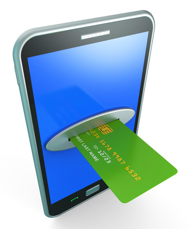bankcard: Credit Card Online Indicating World Wide Web And Website Stock Photo