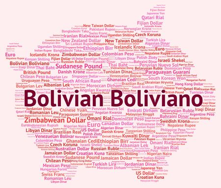 bolivian: Bolivian Boliviano Representing Currency Exchange And Words