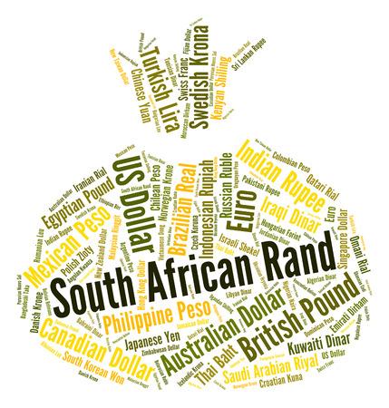 rand: South African Rand Showing Currency Exchange And Words