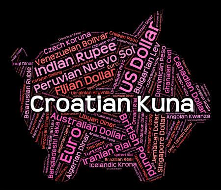 currency exchange: Croatian Kuna Indicating Currency Exchange And Forex Stock Photo