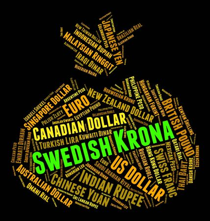 swedish: Swedish Krona wordcloud Stock Photo