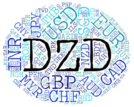 dinar: Dzd Currency wordcloud