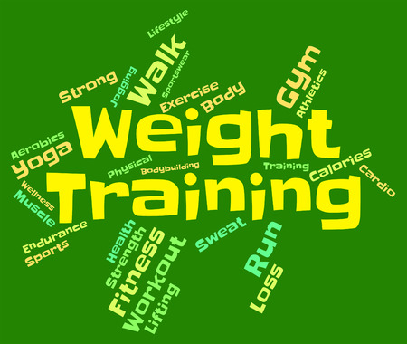 get a workout: Weight Training wordcloud Stock Photo
