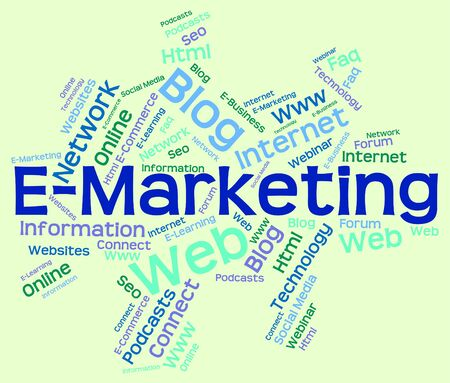 wordcloud: E-marketing Word wordcloud Stock Photo