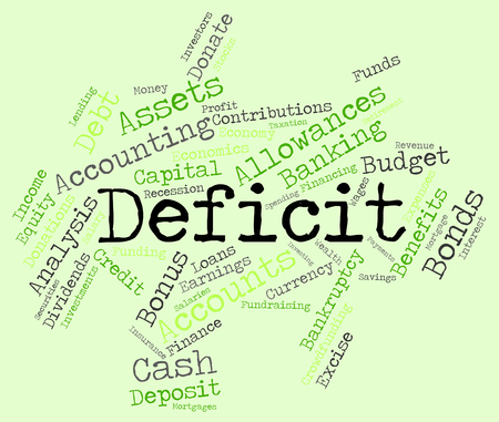 indebt: Deficit Word wordcloud Stock Photo