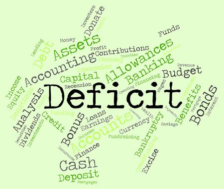 indebtedness: Deficit Word wordcloud Stock Photo