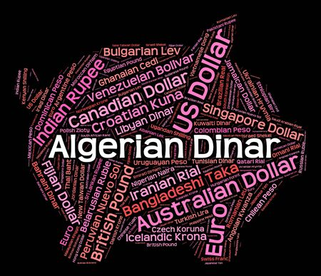 algerian: Algerian Dinar Showing Worldwide Trading And Banknotes Stock Photo