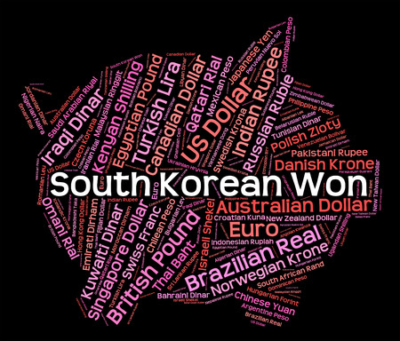 currency exchange: South Korean Won Representing Currency Exchange And Forex Stock Photo
