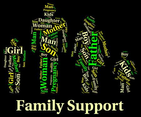 apoyo familiar: Apoyo a la Familia wordcloud Foto de archivo