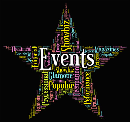 happenings: Events Star wordcloud Stock Photo