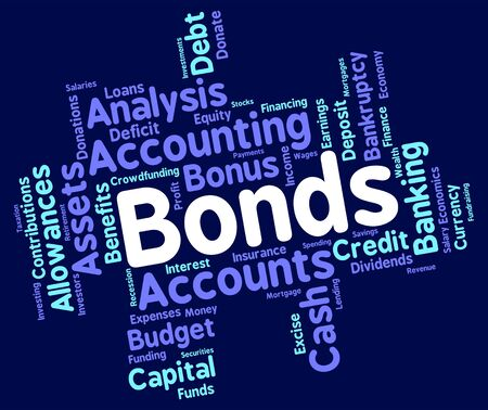 indebt: Bonds Word wordcloud Stock Photo