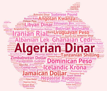 Algierski: Dinar algierski wordcloud Zdjęcie Seryjne