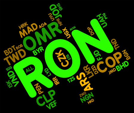 Ron Currency wordcloud Stock Photo