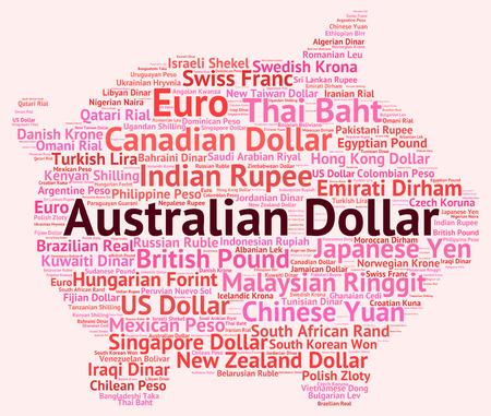 wordcloud: Australian Dollar wordcloud Stock Photo