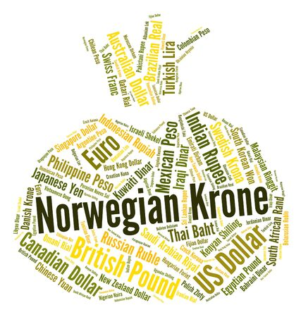 foreign exchange: Norwegian Krone Showing Foreign Exchange And Wordcloud