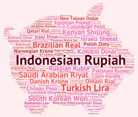 wordcloud: Indonesian Rupiah wordcloud Stock Photo