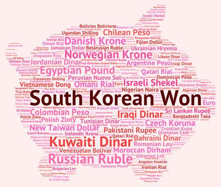 won: South Korean Won wordcloud Stock Photo