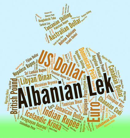 foreign currency: Albanian Lek Indicating Foreign Currency And Leks
