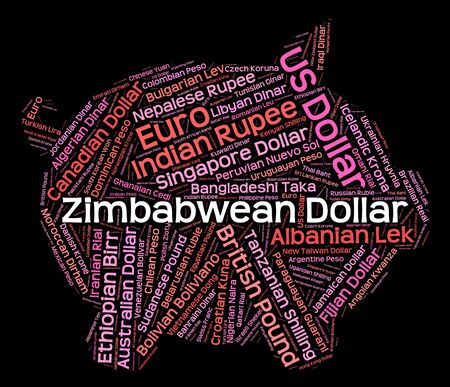 foreign exchange: Zimbabwean Dollar Meaning Foreign Exchange And Words Stock Photo