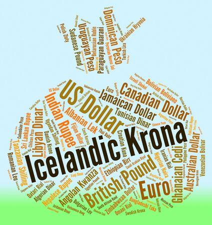 icelandic: Icelandic Krona wordcloud Stock Photo