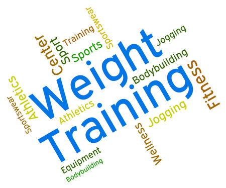 get a workout: Weight Training Showing Fitness Center And Trained Stock Photo
