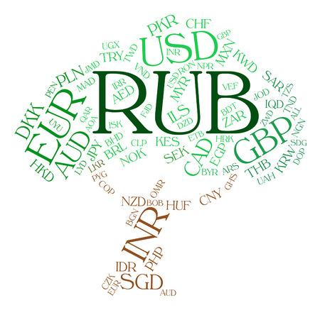 to rub: Rub Currency tree wordcloud Stock Photo