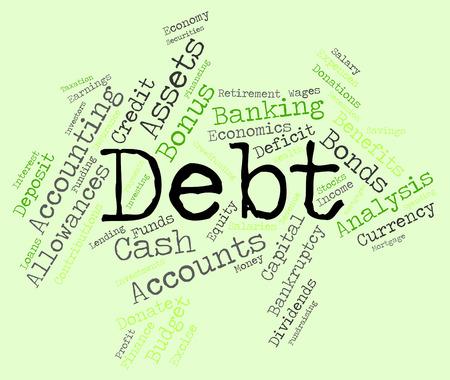 indebtedness: Debt Word wordcloud Stock Photo
