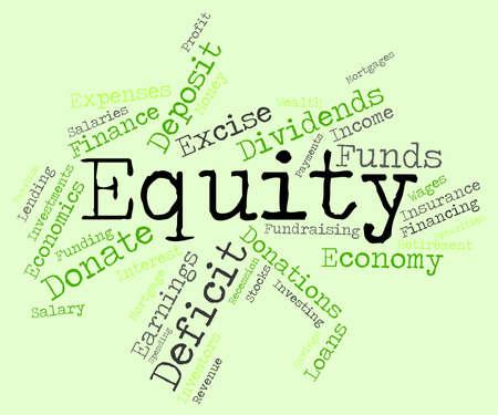 equity: Equidad Palabra wordcloud Foto de archivo