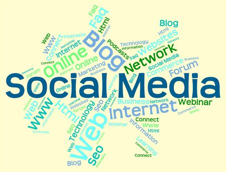 wordcloud: Social Media wordcloud Stock Photo