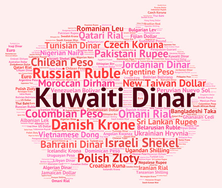 dinar: Kuwaiti Dinar wordcloud Stock Photo