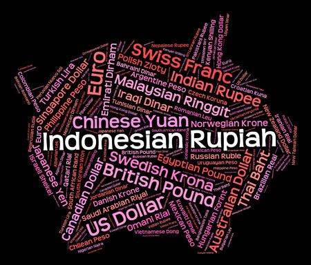 rupiah: Indonesian Rupiah wordcloud Stock Photo