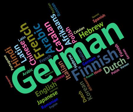 translator: German Language Meaning Translator Words And Wordcloud Stock Photo