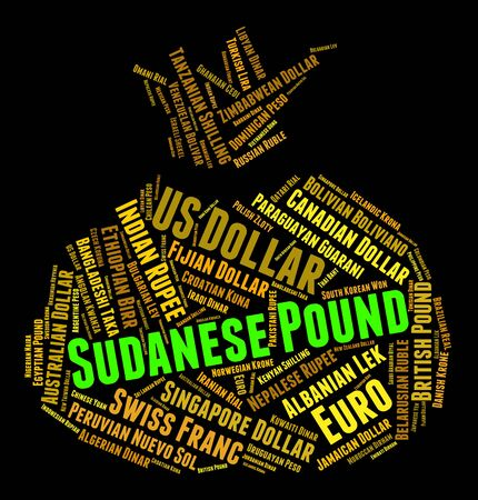 foreign currency: Sudanese Pound Meaning Foreign Currency And Wordcloud Stock Photo