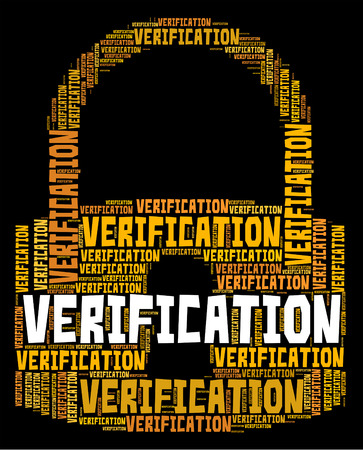 verifying: Verification Lock wordcloud Stock Photo