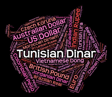 dinar: Tunisian Dinar Showing Worldwide Trading And Banknote Stock Photo