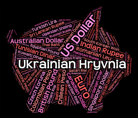 foreign exchange: Ukrainian Hryvnia Showing Foreign Exchange And Currency Stock Photo