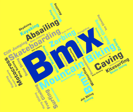 bmx bike: Bmx Bike Words Meaning Bikes Cycling And Wordcloud Stock Photo