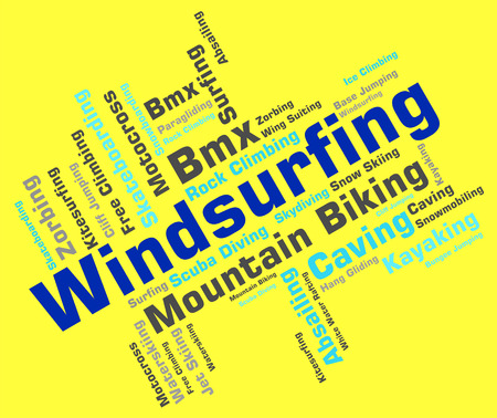 sailboard: Windsurfing Word Showing Sail Boarding And Wind-Surfer Stock Photo