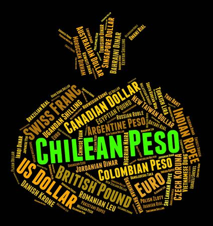 peso: Chilean Peso Representing Worldwide Trading And Word Stock Photo