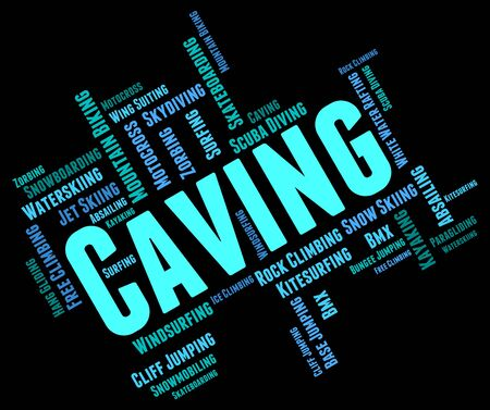 caving: Caving Words Representing Cave Climbing And Wordcloud