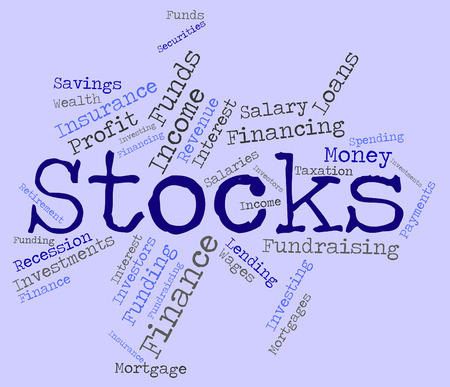 buy shares: Stocks Word Representing Return On Investment And Buy In