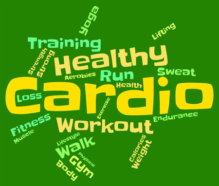 cardiovascular exercising: Cardio Word Representing Aerobic Fitness And Workout
