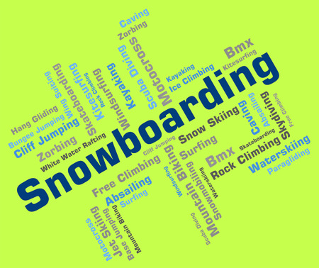 boarders: Snowboarding Word Showing Winter Sports And Words Stock Photo