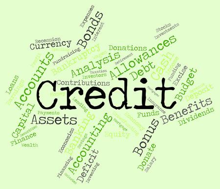 debit card: Credit Word Representing Debit Card And Bankcard