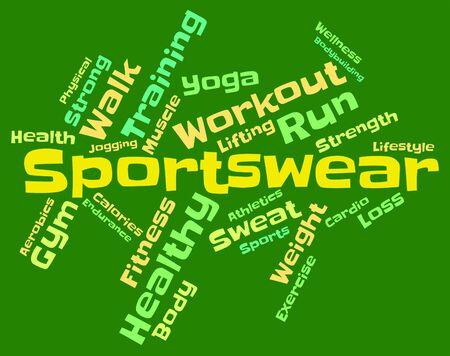 ropa deportiva: Sportswear Palabra Indicando Wordcloud suéteres y prendas de vestir