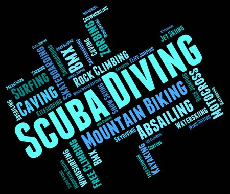 scubadiving: Scuba Diving Showing Underwater Scubadiving And Word Stock Photo