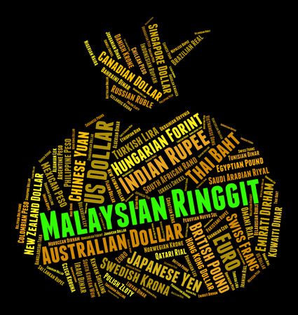 currency exchange: Malaysian Ringgit Indicating Currency Exchange And Wordcloud