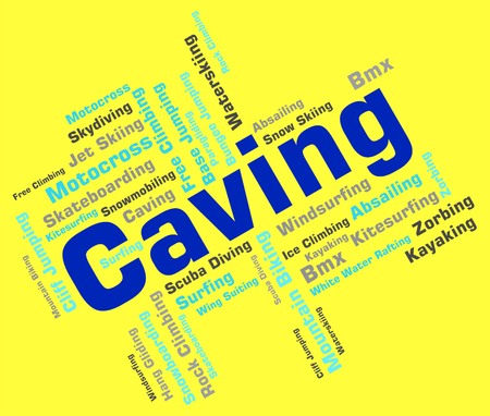 caving: Caving Words Meaning Wordcloud Sport And Explorer Stock Photo