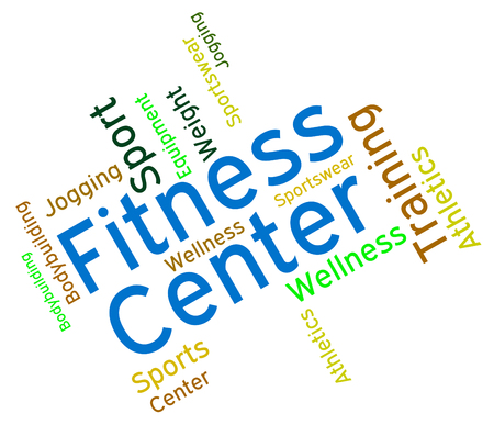 get a workout: Fitness Center Indicating Aerobic Gym And Gymnasium Stock Photo